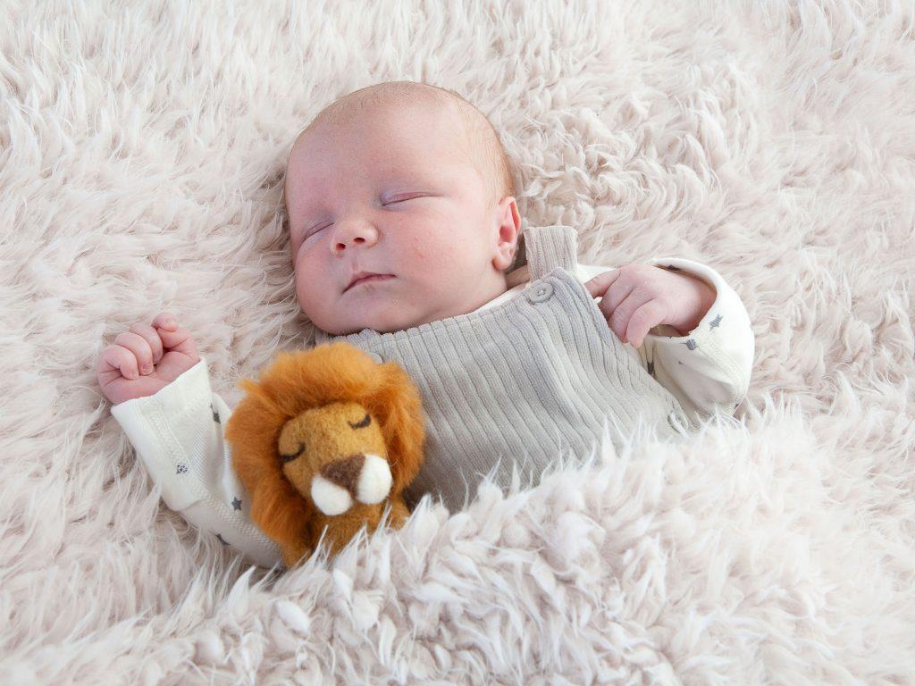 newborn baby girl asleep with her toy lion