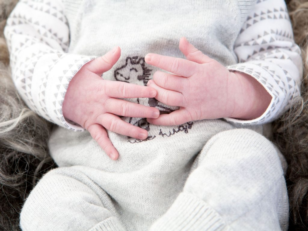 close up of baby's hands